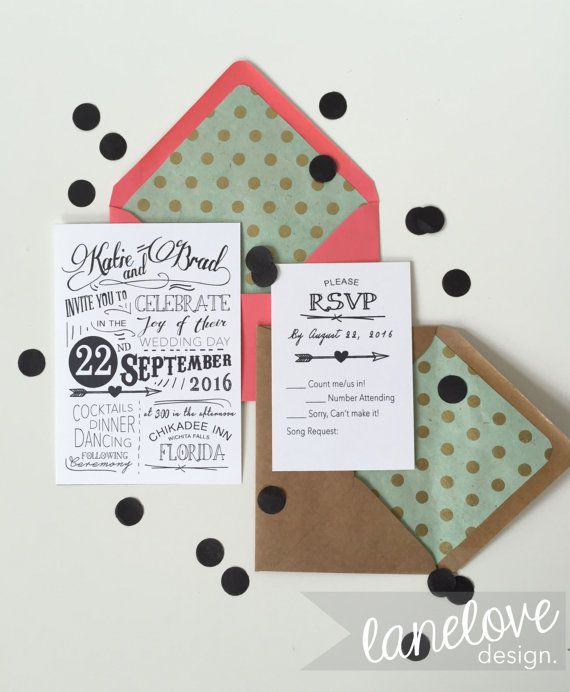 Modern Typography Wedding Invitation and RSVP, Retro Minimalist Wedding black and white invite, simple wedding