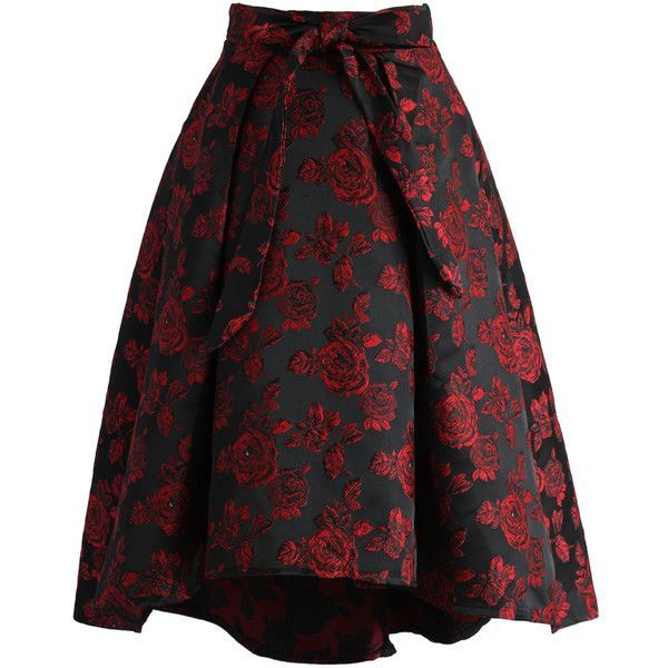 Chicwish Dashing Rose Embossed Waterfall Skirt in Red ($51) ❤ liked on Polyvore featuring skirts, red, rose skirt, floral knee length skirt, red skirt, flower print skirt and tie-dye skirt