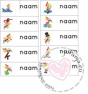 Klassenthema 'Zoem' Naamkaartjes - blokschrift of schrijfschrift-