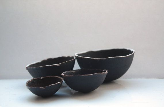 Limited Edition set of 4 chocolate black stoneware nesting bowls with white rims