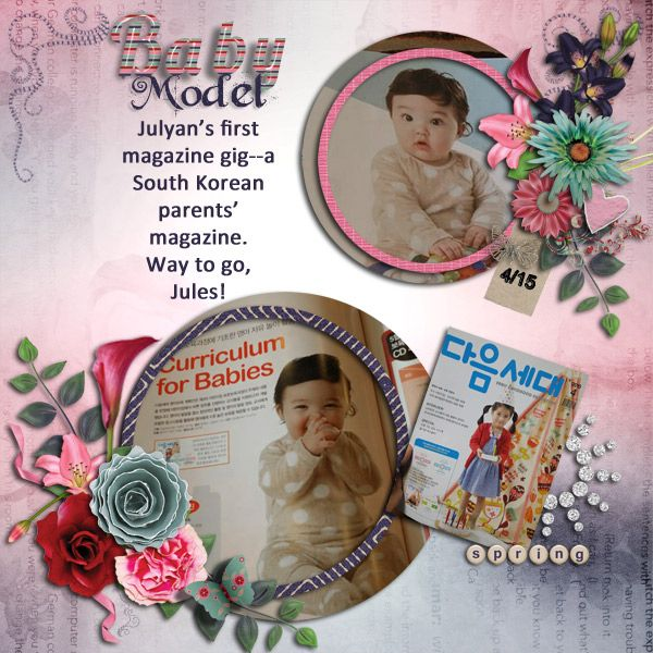 """I used the April GDS Collaboration, """"Blossom"""" for this layout. It includes everything you need to make page after page--template, quick pages, alpha, elements, papers... Each piece, in my opinion, is just exquisite! Find it here and when you spend $15.00 in the GDS store, you get the April 2015 collaboration kit FREE! http://www.godigitalscrapbooking.com/shop/index.php…"""