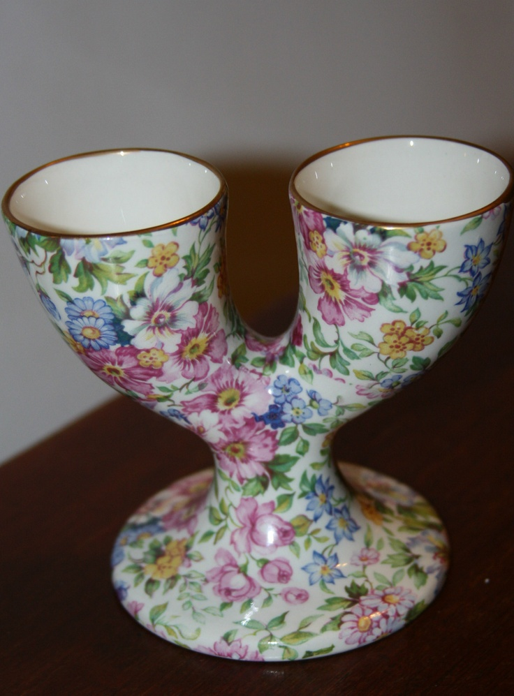 "James Kent England ""Collector Chintz"" 2 Sided Double Egg Cup 4"" Excellent 