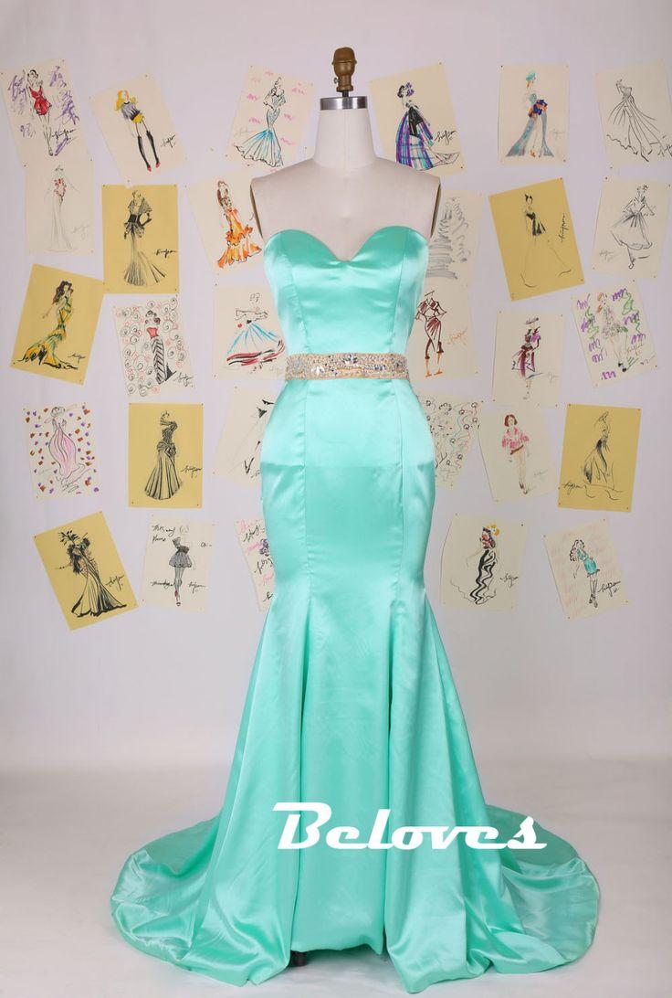 Prom Dress, Green Dress, Mermaid Dress, Satin Dress, Mermaid Prom Dress, Green Prom Dress, Light Green Dress, Sweetheart Dress, Dress Prom, Mermaid Dress Prom, Prom Dress Mermaid