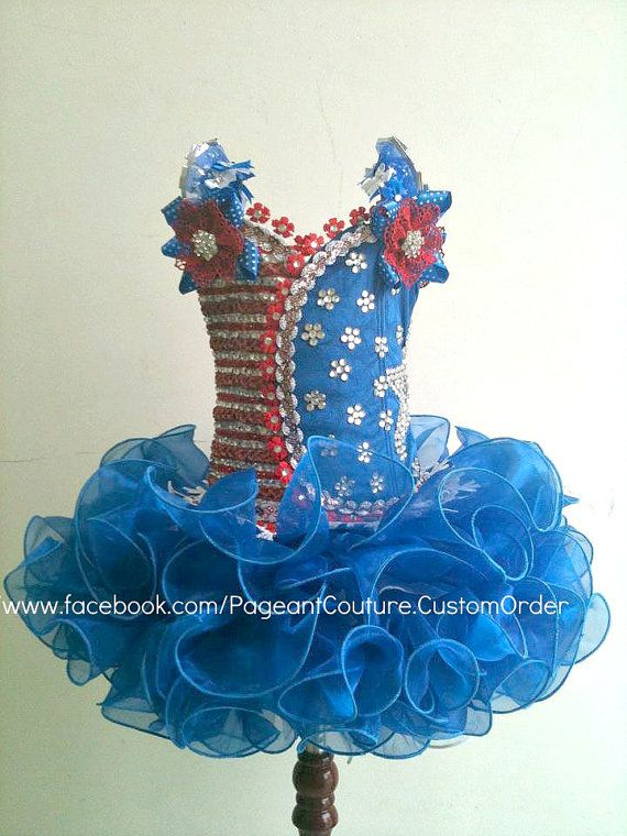 Blue Glitz Pageant Dress  Made to Order  N02US by PageantCouture, $360.00