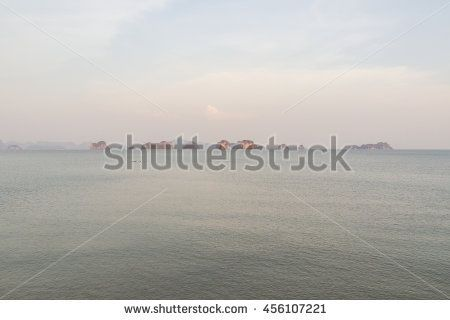 Ko Yao Noi , Phang Nga , Thailand - April 23, 2016: View of small islands in the sea from  Ko Yao Noi in the evening. It is good and calm destination for many tourists who love peace and nature