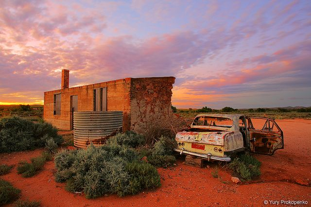 Outback ruins in Australia.  Beautiful image.  Love that sky!