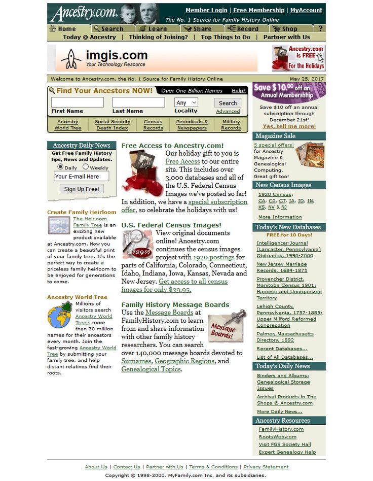 Ancestry.com website in 2000