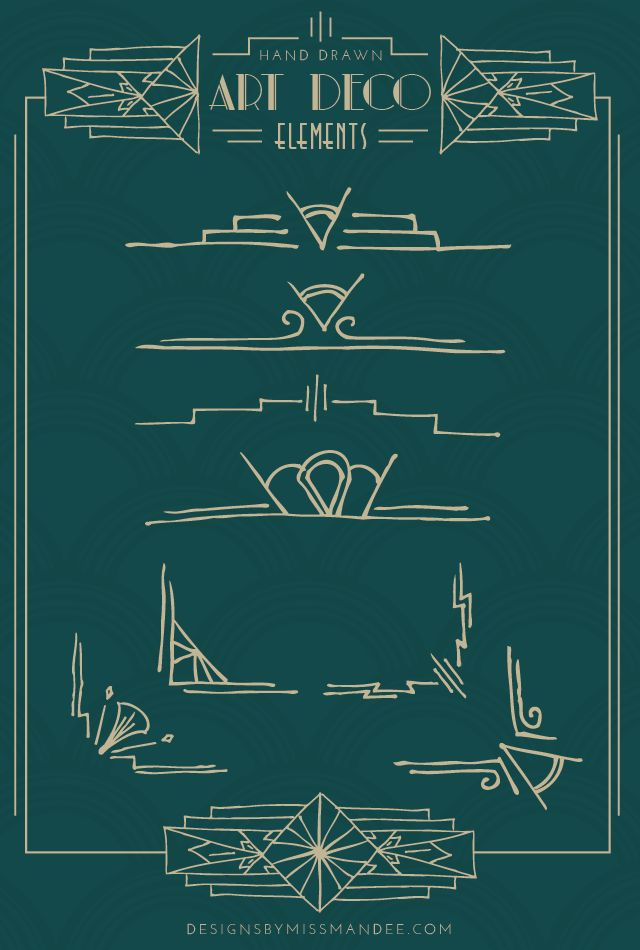 Hand Drawn Art Deco Elements | Designs By Miss Mandee. Free design elements. Great for Christmas card designs, printables, logos, anything you can imagine really!