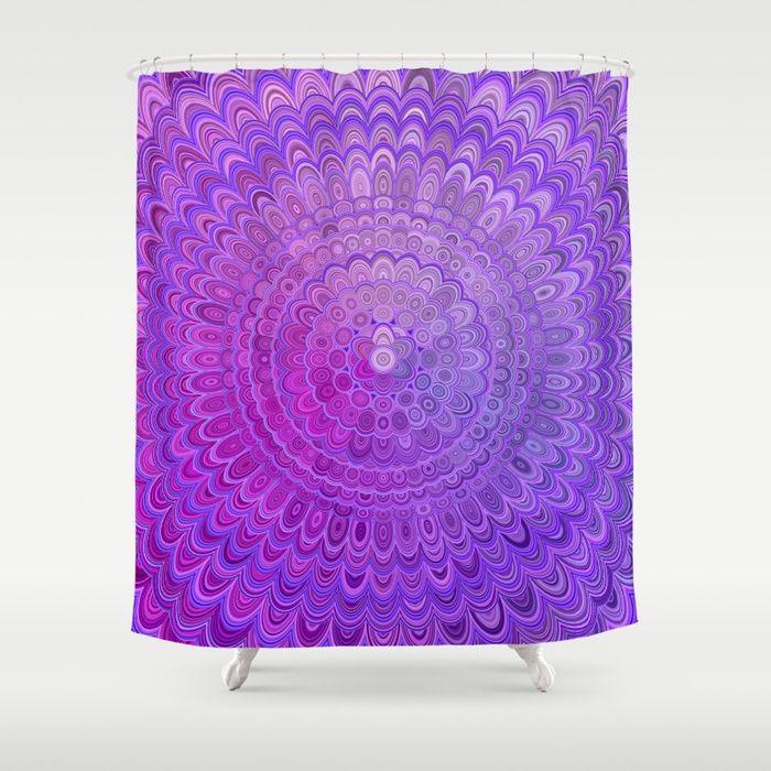 Mandala Flower In Violet Tones Shower Curtain