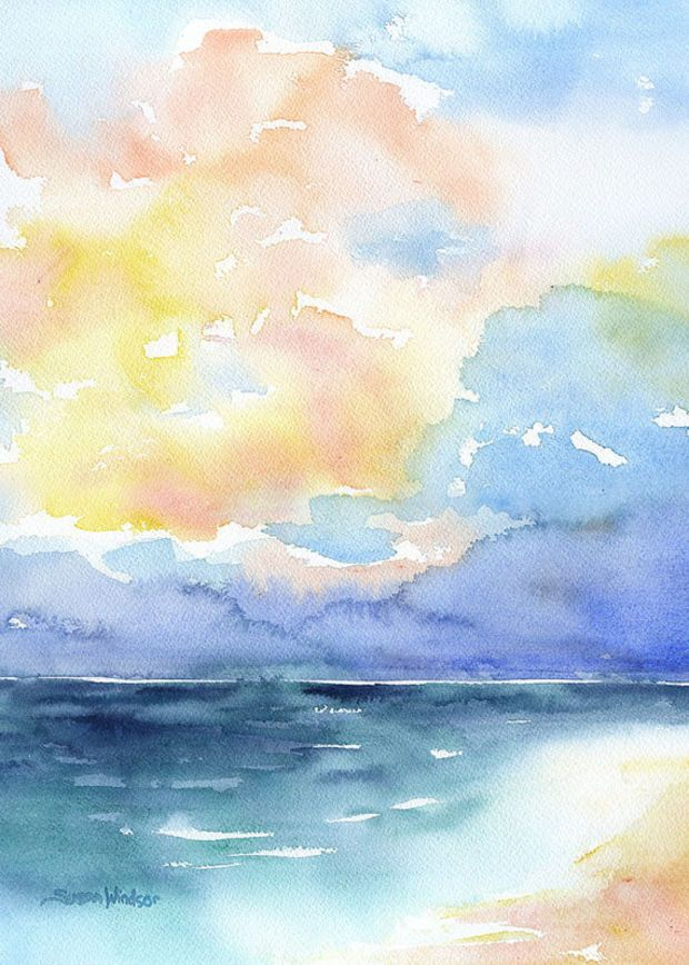 Watercolor Painting Abstract Ocean Colorful Sea Beach 5 X 7