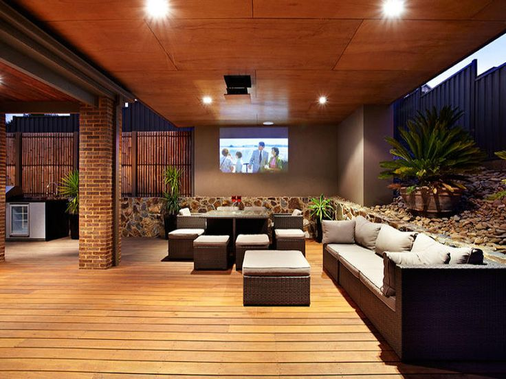 outdoor entertaining area with projector