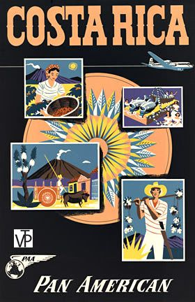 Costa Rica • Pan Am #travel #poster (1950s)
