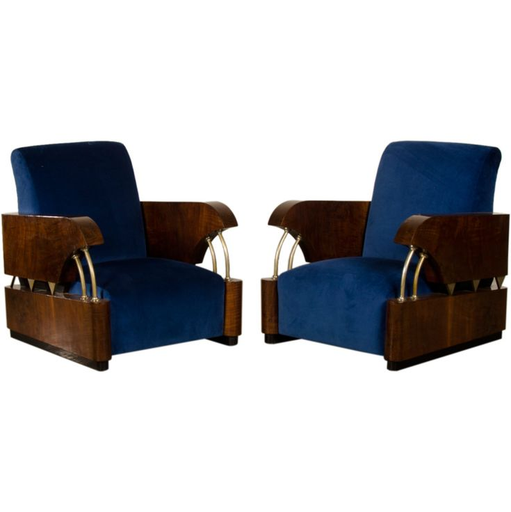 "Art Deco Period ""Normandie"" Armchairs with Nickel Accents, France c.1930 