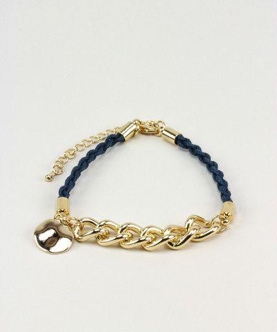 Gold Disc Rope Bracelet - Dark Blue. $ 17.00