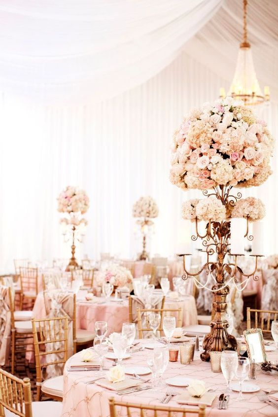 Photographer: Photogen, Inc; Glamorous blush and gold indoor wedding reception;