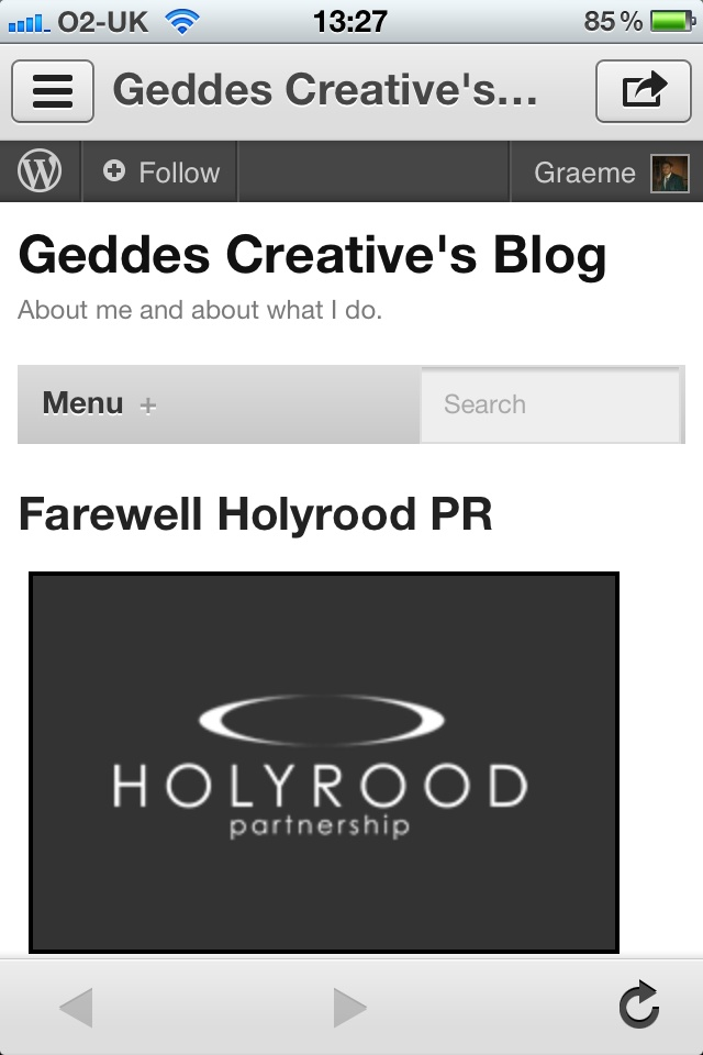 Screenshot of my blog (mobile site).