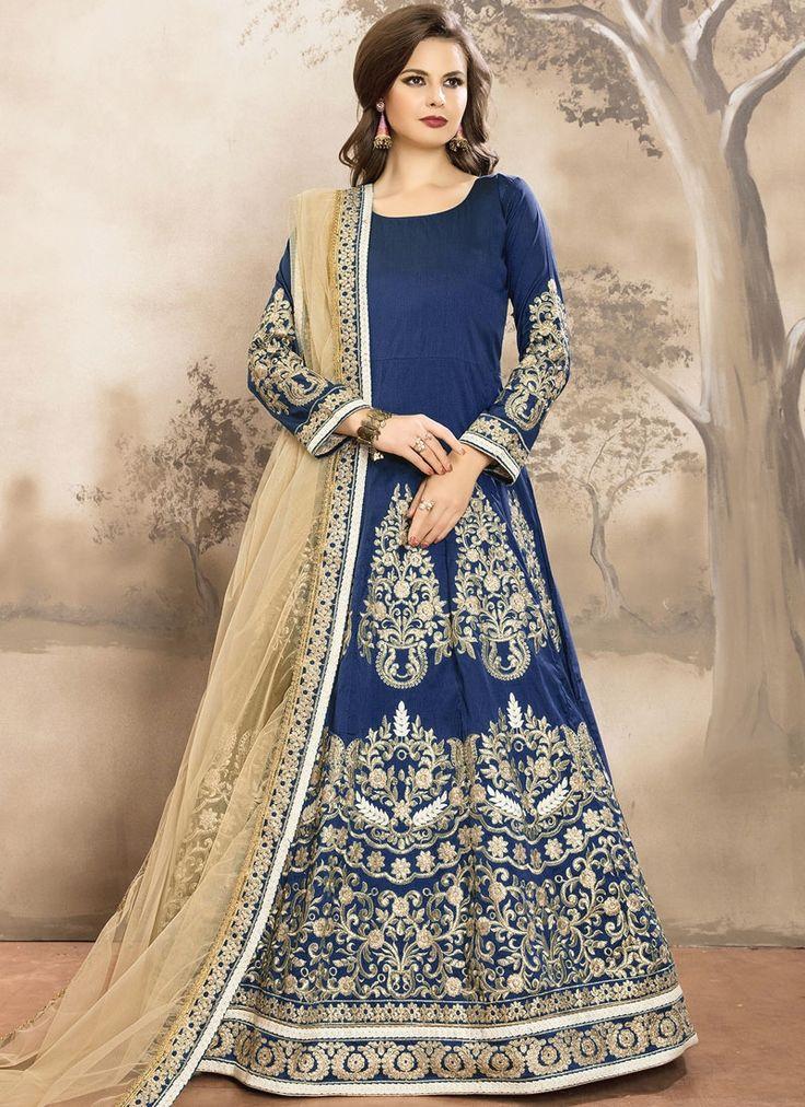Zesty Resham Work Tafeta silk Floor Length Anarkali Suit