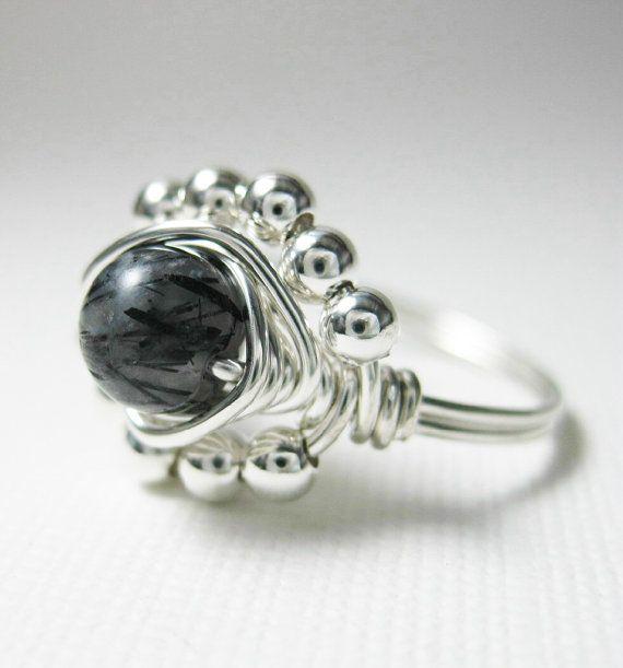 Nero Anello quarzo rutilato  filo avvolto anello  di holmescraft