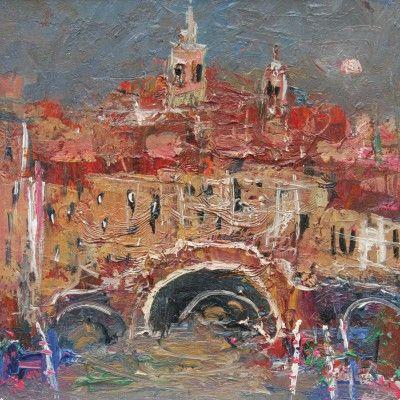 Scottish Artist Nael HANNA - Venetian Bridge and Gondolas
