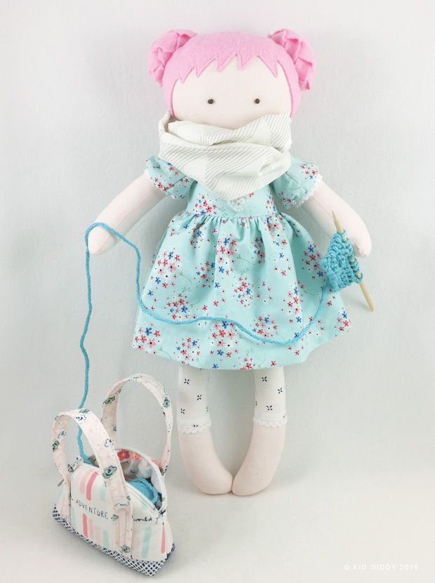 "Kid Giddy Doll ""Bubbles"" made with the Kid Giddy Sizzix Doll die and Fox die. Using @nanacompany  Amy Sinibaldi's Paperie Fabrics for dress, inifinity scarf, capris and for the mini Co-Pilot Bag (pattern by Sara Lawson @sewsweetness)  @fairfieldworld"