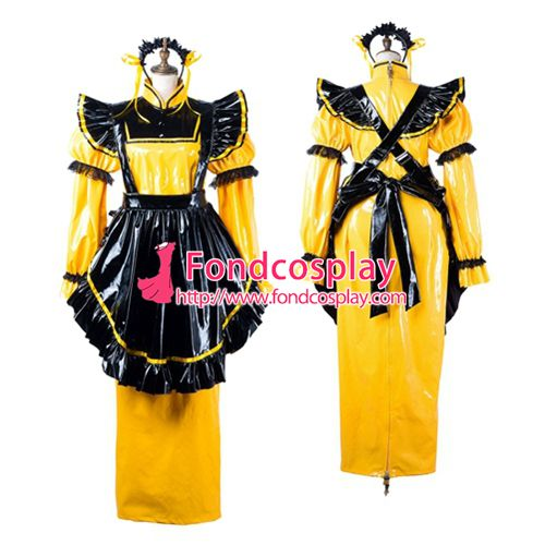 Sissy maid pvc dress lockable Uniform cosplay costume Tailor-made[G2199]