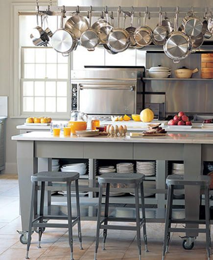 gray kitchen with stainless,  open shelves (martha stewart's kitchen)