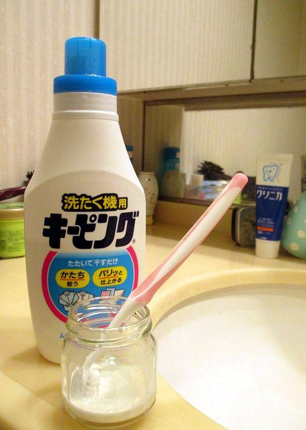 by MAYさん@日本「洗濯機用キーピング」情報。「水と1:1で薄め、歯ブラシでつけて、ドライヤーの冷風で乾かし、8割くらい乾いたらヘルドレからはずしました。アイロンをかけずに、けっこうパリっとなりました。」MAYさんありがとうございます。2014秋