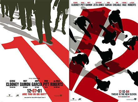 Neville Brody / Oceans 11 poster (2001) + Oceans 12 poster (2004)