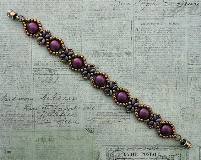 Linda's Crafty Inspirations: Bracelet of the Day: Sunflower Bracelet - Pastel Bordeaux