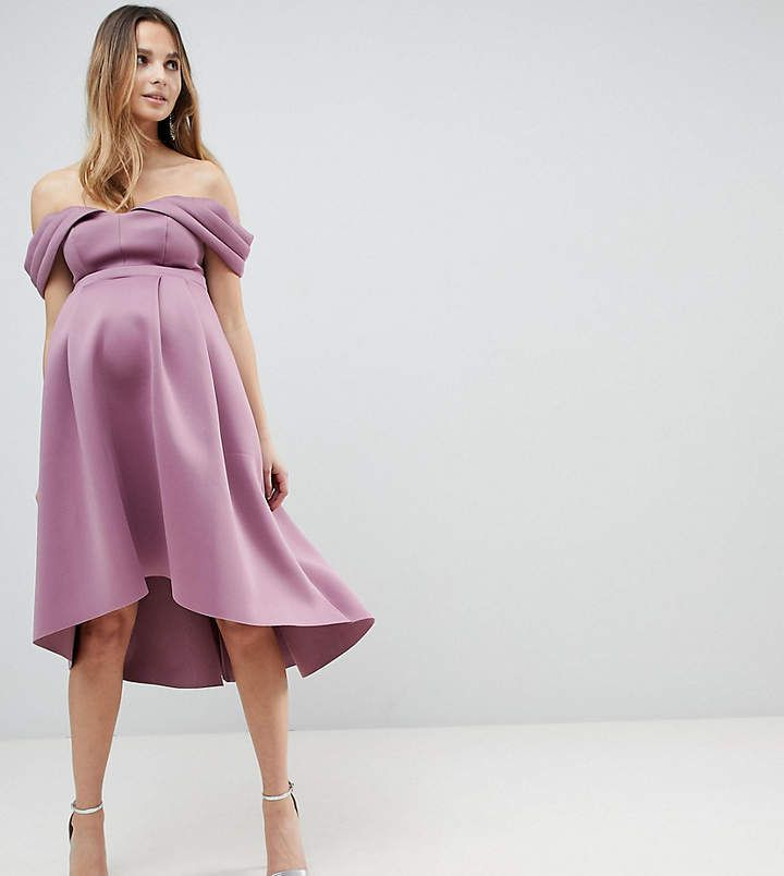 asos maternity bardot cold shoulder dip back midi prom dress