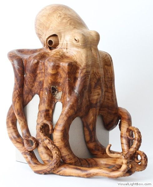 Carved octopus of Sweet Chestnut Burr on Limestone Block by Bill Prickett, sculptor.
