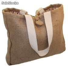 borsa shopper in twill di juta foderata in cotone stampato