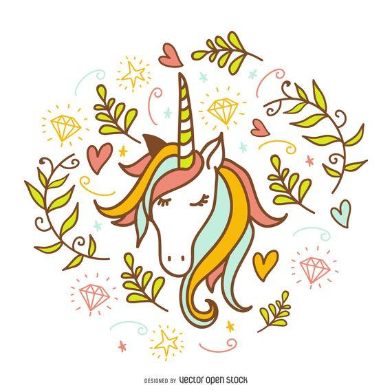 Unicorn doodle with decorations
