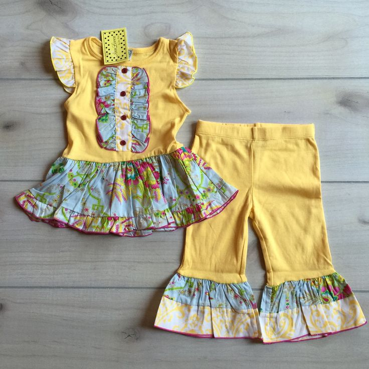 NEW Ann Loren Yellow Floral Ruffle Pant Outfit