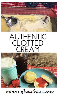 Authentic clotted cream (Devonshire cream) to have with perfect English scones and Fresh Strawberry jam