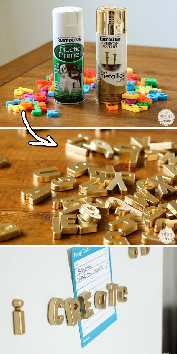 11. Change an old chair's color by fabric spray painting. Get Tutorial here —-> apinterestaddict.com 12. Cool idea of using a spray paint on existing door knobs. Get Tutorial here —-> thriftydecorchick.com 13. Cover your refrigerator with these classic painted magnetic letters. Get Tutorial here —-> thriftydecorchick.com 14. Give those glass mason jars a metallic look. […]