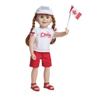 Canada Day outfit: This outfit for all Maplelea Girls includes a graphic tee with extra detailing, red shorts with an embroidered maple leaf on the front and on the back pocket, an embroidered runner's cap and, of course, a Canadian flag to wave.  The flag pole fits perfectly in the right hand of all Maplelea dolls.