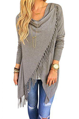 Azbro Women's Chic Asymmetric Tasseled Knit T-shirt Sweater at Amazon Women's Clothing store: