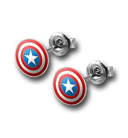 earrings(diameter measures around .12 of an inch), each adorned with the Captain America symbol!