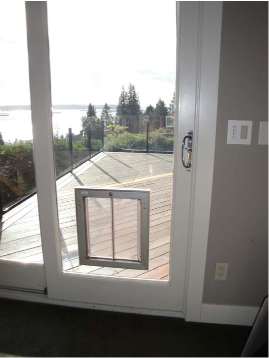 PlexiDor Pet Doors installed in glass door
