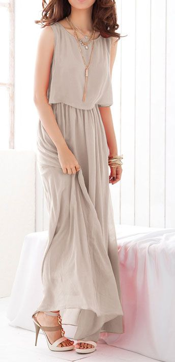 Grey Bohenmia Pleated Maxi Dress