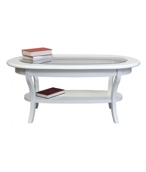 Oval shaped coffee table with crystal countertop. Product code: F33-T