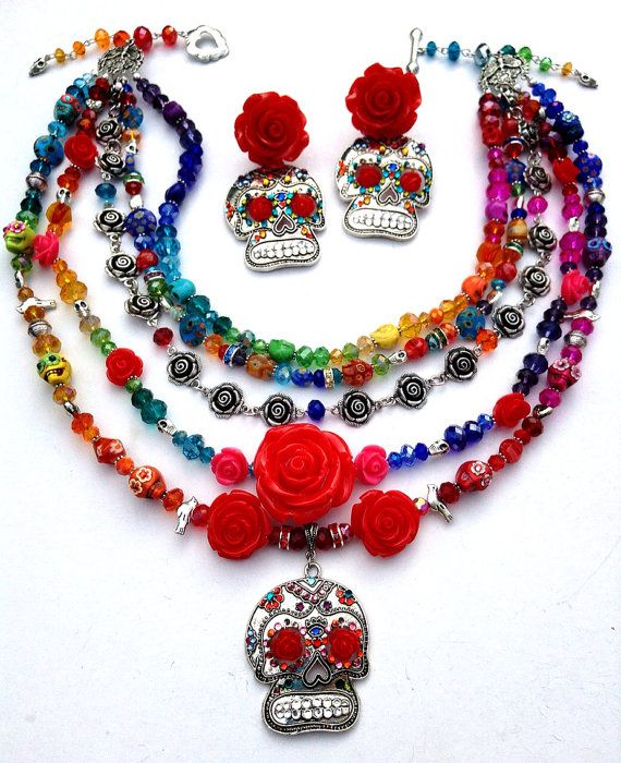 Day of the Dead Sugar Skull Rainbow Czech Crystal by HulaTallulah, $225.00