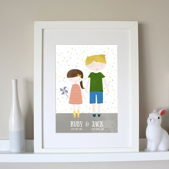 This Sister And Brother Personalised Print is a lovely personalised print of a boy and girl will be a perfect addition to any family home.