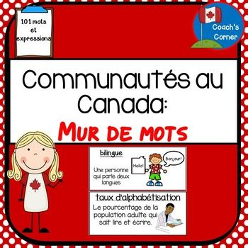 Communities in Canada Word Wall - FRENCH Version (for Ontario Grade 6 Social…