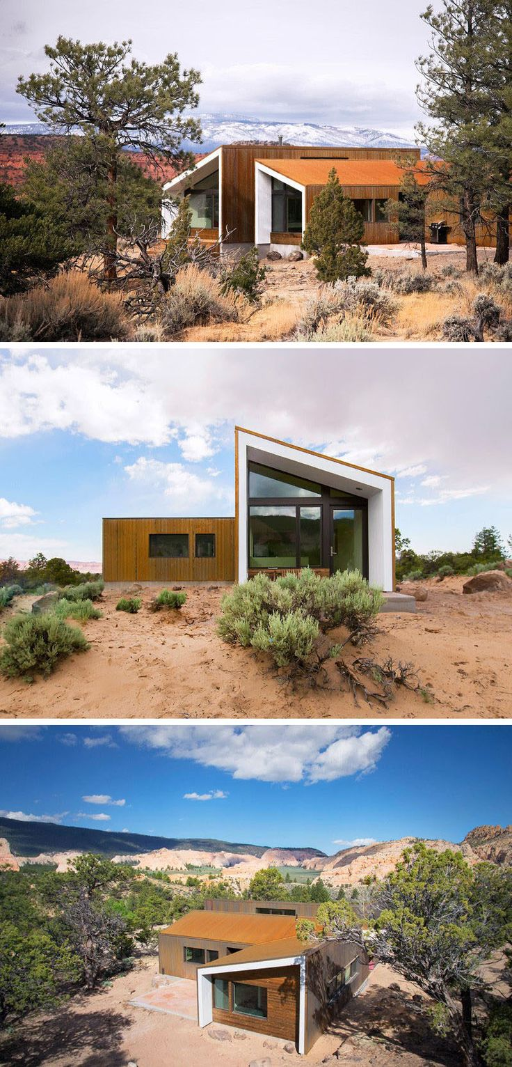 Three separate buildings, all covered in weathering steel, provide views of the rock formations in the desert and have a contemporary look to them thanks to the contrast created by the weathering steel and the white extended sections.