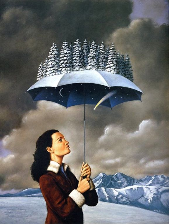 Rafal Olbinski, artist: Simonid Posts, Surrealism Art, Art Illustrations, Umbrellas, Olbinski 1945, Art Drawings, Rafał Olbiński, Visionary Art, Generator Olbinski