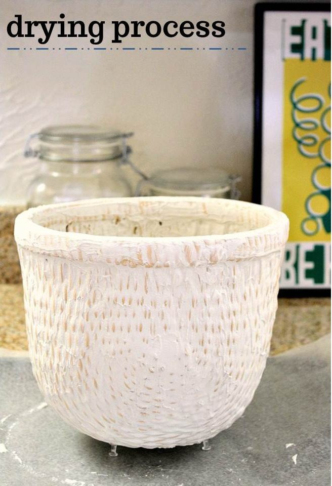 plaster of paris basket (neat idea, thrift store baskets can become cooler)