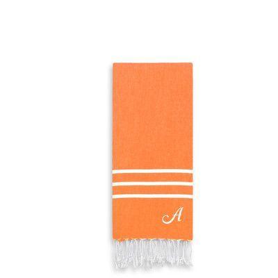Linum Home Textiles Alara Personalized Turkish Pestemal Hand Towel Color: Dark Orange, Letter: C