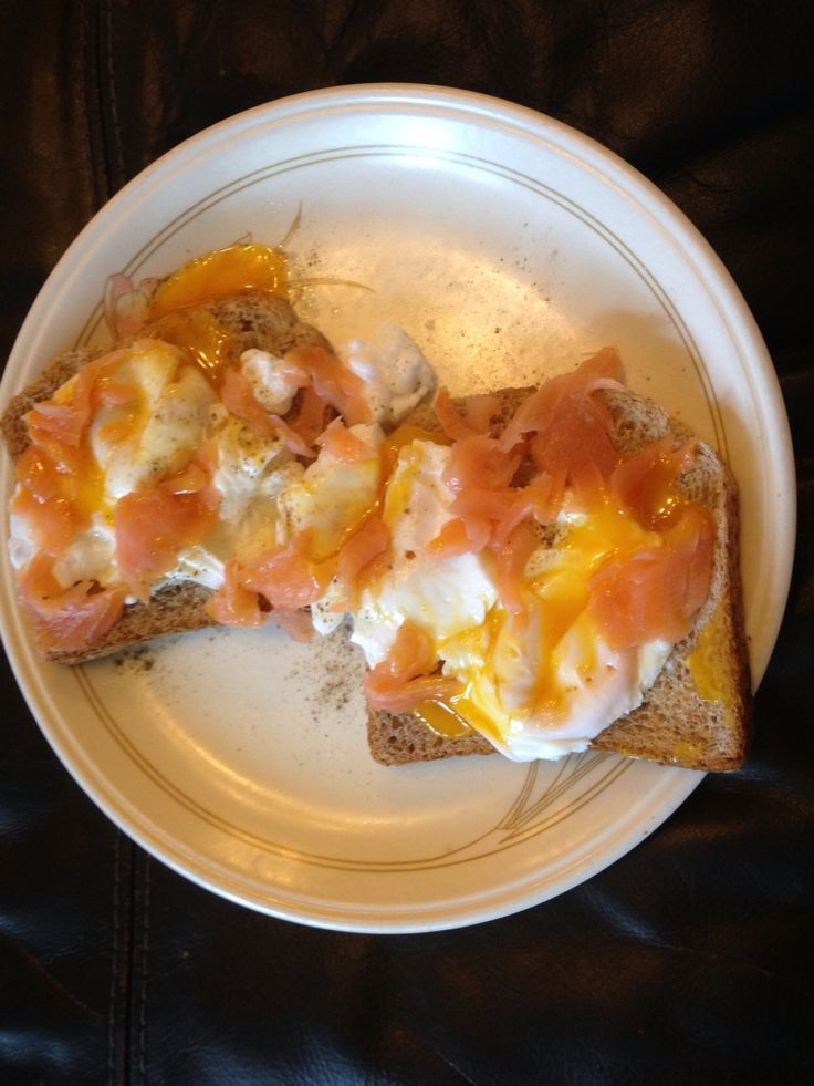 Perfect breakfast poached egg on toast with smoked salmon yummy and free